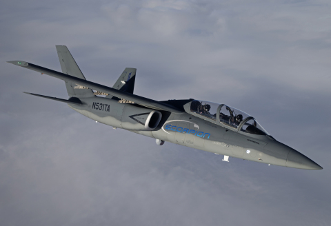 The Scorpion ISR/Strike aircraft will travel more than 10,000 nautical miles this summer as part of its European tour from June through July, including stops at International Paris Air Show and Royal International Air Tattoo (Photo: Business Wire)