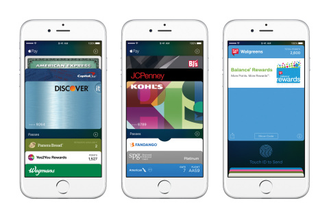 Apple Pay makes everyday payments even better in iOS 9, with support for rewards programs and store-issued credit and debit cards. (Photo: Business Wire)