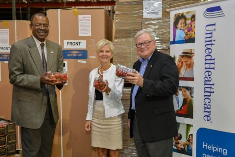 (L to R) Representative Ralph C. Johnson (District 58), Anita Bachmann of UnitedHealthcare and Clyde Fitzgerald, executive director, Second Harvest Food Bank of Northwest North Carolina gather together to address and fight food insecurity throughout North Carolina. UnitedHealthcare provided Second Harvest Food Bank of Northwest North Carolina with a $2,500 donation, nutritious food and fruit, and three refrigeration units that will enable food pantries to preserve and distribute healthy, fresh food to underserved communities (Photo: Pam Brackett).