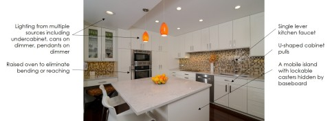 Kitchen: after 2 - A mobile island with lockable casters hidden by baseboard - Lighting from multiple sources including undercabinet, cans on dimmer, pendants on dimmer - U-shaped cabinet pulls - Single lever kitchen faucet - Raised oven to eliminate bending or reaching (Photo: Kerrie Kelly)