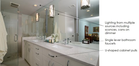 Bathroom: after - U-shaped cabinet pulls - Single lever bathroom faucets - Lighting from multiple sources including sconces, cans on dimmer - Handheld showerhead with hose (Photo: Kerrie Kelly)