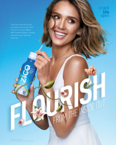 ZICO® Premium Coconut Water and brand ambassador Jessica Alba teamed up again to launch the 2015 Crack Life Open™ national campaign spanning print, out-of-home (OOH), experiential and social/digital advertising across the U.S. (Credit: ZICO Premium Coconut Water)
