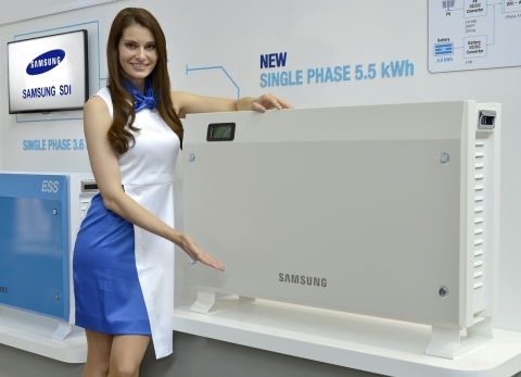Samsung SDI (KRX:006400) unveiled two residential energy storage systems (ESS), 5.5kWh and 8.0kWh, at Intersolar Europe 2015 in Munich, Germany. (Photo: Business Wire)