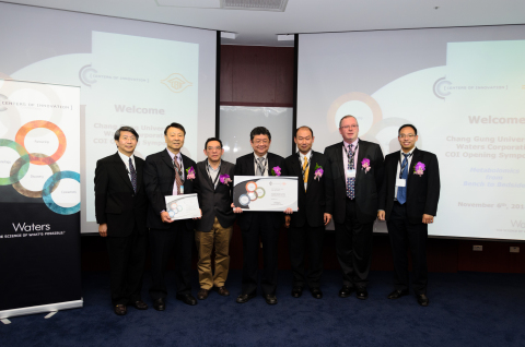 In celebration of its selection as a Waters Center of Innovation, Chang Gung University (CGU) hosted a ceremony in recognition of the research of Prof. Daniel Chiu. Pictured are (from left to right) Prof. Chih-Wei Yang, MD, Dean of College of Medicine, CGU; Prof. Chiu; Prof. Ta-Sen Yeh, MD, Chair, Board of Chang Gung Medical Research Review and Evaluation; Prof. Ming-Shi Shiao, Ph.D, Director of Metabolomic Core, CGU; Dean Yu, General Manager of Waters in Taiwan; Eric Fotheringham, Director - Waters Centers of Innovation Program; Dr. Gigin Lin, MD, Ph.D,Physician Scientist, Staff Radiologist, Chang Gung Memorial Hospital. (Photo: Business Wire)