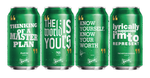 """Sprite """"Obey Your Verse"""" Lyrical Collection featuring lyrics from Drake, Nas, The Notorious B.I.G. and Rakim. (Photo: Business Wire)"""