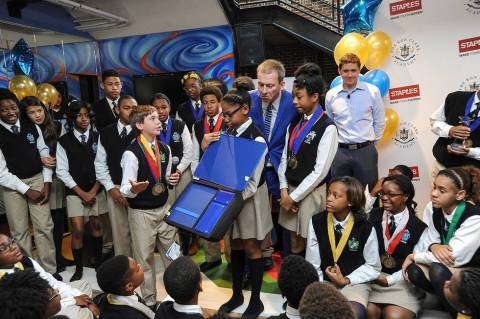 "Students present their school supplies from Staples' first-ever ""Designed by Students"" program, whic ..."