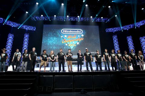 In this photo provided by Nintendo of America, host Kevin Pereira welcomes the enthusiastic crowd at ...