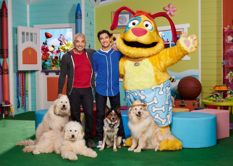 Cesar Millan, Calvin Millan and Stuff, stars of Nickelodeon's live-action preschool series, Mutt & Stuff. (Photo: Business Wire)