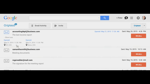 Watch as a user recalls a Gmail using Criptext.