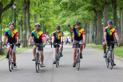 Pride Ride cyclists approaching the finish line. #FinishWithDurex (Photo: Business Wire)