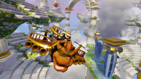 New Skylanders® guest star Hammer Slam Bowser in his SuperCharged Clown Cruiser vehicle takes to the skies of Skylands on Sept. 20. (Graphic: Business Wire)