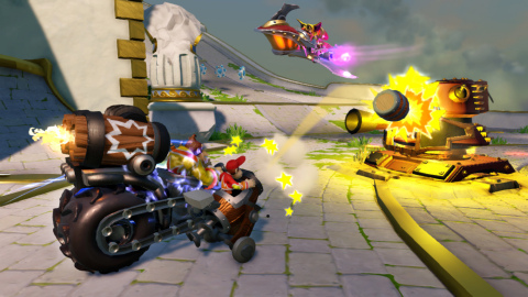 Available exclusively in Skylanders® SuperChargers Starter Packs for Nintendo platforms, Turbo Charge Donkey Kong is unstoppable in his SuperCharged Barrel Blaster vehicle in Skylanders® SuperChargers, available on Sept 20. (Graphic: Business Wire)