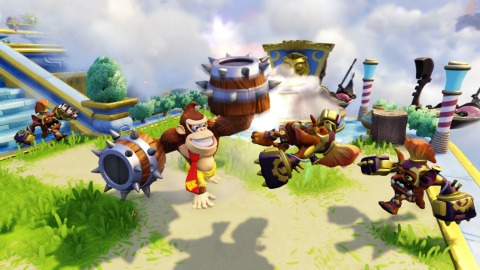 Guest star Skylander Turbo Charge Donkey Kong takes on villains in Skylanders® SuperChargers on Sept. 20. Turbo Charge Donkey Kong's powers and attacks include barrel throws, exploding bongos and other classic Donkey Kong powers that pay homage to the lore of the character. (Graphic: Business Wire)