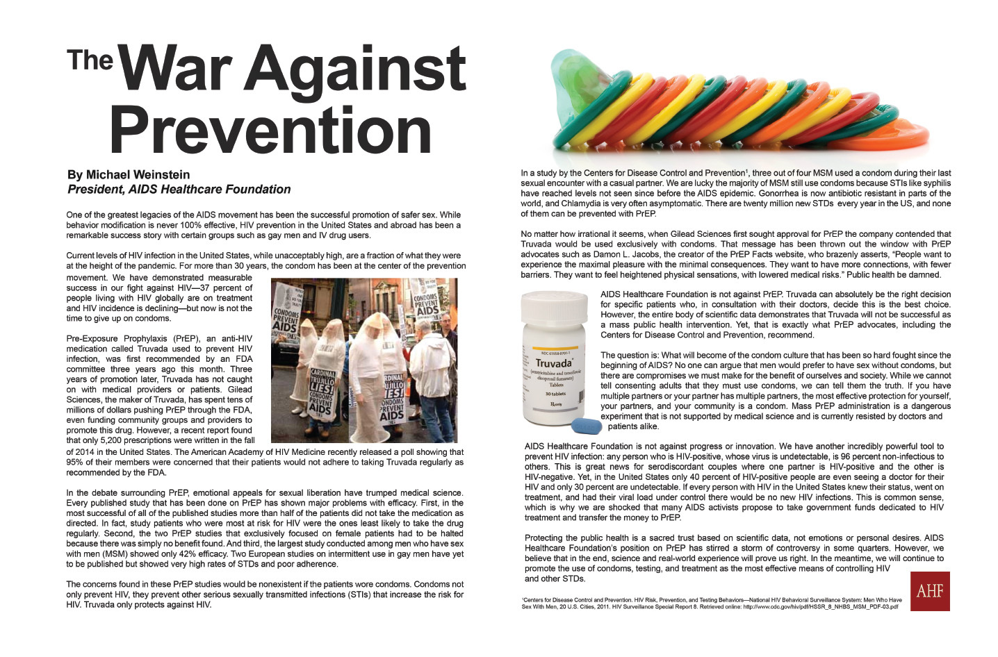 """""""The War Against Prevention"""" by AHF President Michael Weinstein (Graphic: Business Wire)"""
