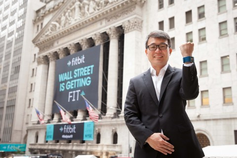 Fitbit CEO and Co-Founder James Park outside of the NYSE on Fitbit's IPO day. (Photo: Business Wire)