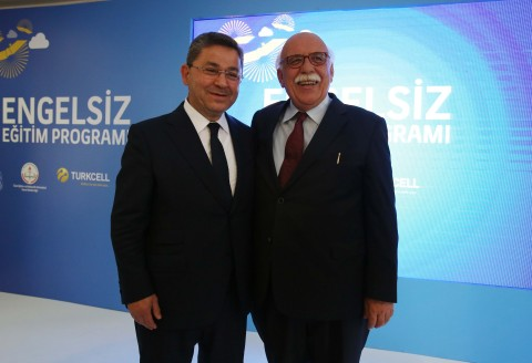 Mr. Nabi Avci, Minister of Education of Turkey, and Mr. Ahmet Akca, Chairman of the Turkcell Board, signed the protocol on Turkcell's support for special education projects for disabled students. (Photo: Business Wire)
