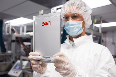 A 24M technician holds one of the company's new semisolid lithium-ion battery cells. (Photo: Business Wire)