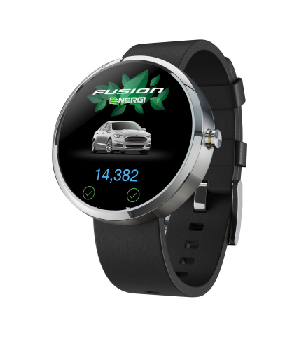 Ford Motor Company has kicked off wearable technology development with a MyFord(R) Mobile app extension - coming soon to smartwatches including Android Wear - providing customers the ability to check vehicle driving range, battery charge and more for their plug-in hybrid or electric vehicle quickly from their wrists. (Photo: Business Wire)