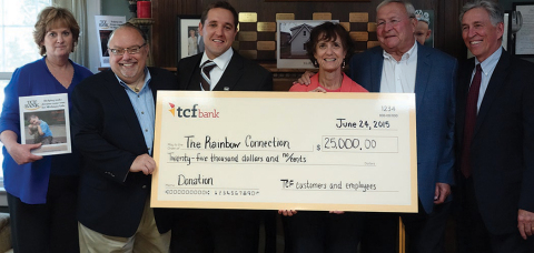 From left to right: Mary Grace McCarter, Executive Director, The Rainbow Connection; Fred Hoffman, Board Member, The Rainbow Connection; Frank Kasten, TCF Bank Regional Manager; Cathy Pardon, TCF Bank Fundraising Committee Member; L. Brooks Patterson, Founder, The Rainbow Connection; Greg Anderson, President, The Rainbow Connection (Photo: Business Wire)