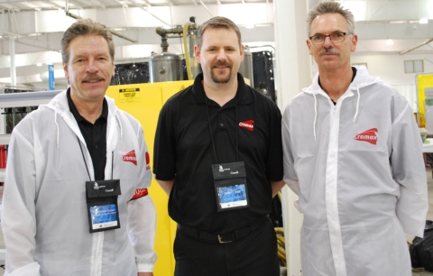 Left to right: Axalta's Tom Flaman, Gord Wry and Gerry Silbernagel at Skills Canada National Car Pai ...
