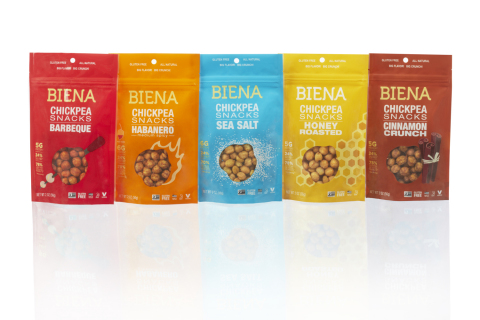The new look to the Biena Chickpeas packaging matches the full-flavored nature of the snacks and brand personality. (Photo: Business Wire)