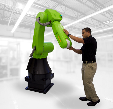 The FANUC CR-35iA collaborative robot allows shared workspace between an operator and the interactiv ...