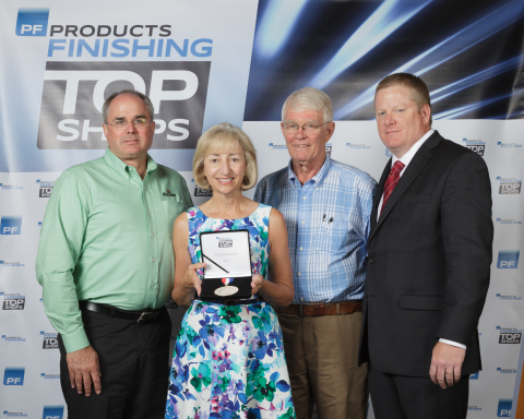 Microfinish Receives a 2015 Top Shops award. Pictured left to right: Bill Stock, Karen Stock, Pat Gl ...