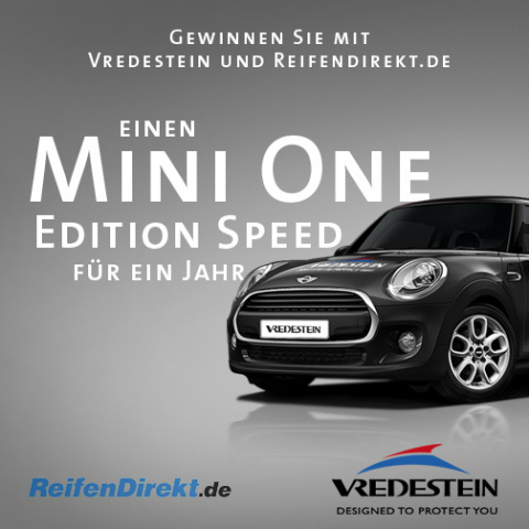 ReifenDirekt.de and Vredestein: take part in the competition and win one year of fun driving a Mini One Edition Speed. Photo: Delticom AG, Hanover