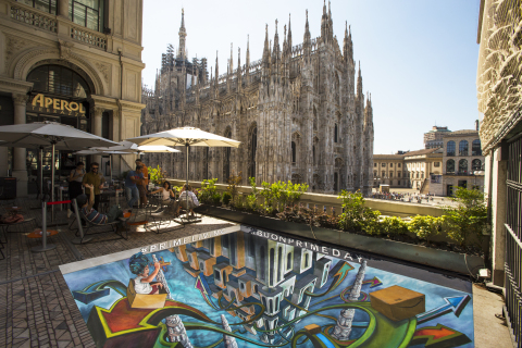 Italian 3D artist Tony Cuboliquido interprets #PrimeLiving in Milan to help celebrate Prime Day. Prime members can go to amazon.it/primeliving to share their own #PrimeLiving moments. (Photo: Business Wire)