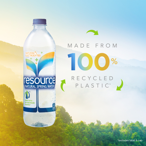 resource® Natural Spring Water today announces the debut of its remodeled bottle made with 100 percent recycled plastic (rPET)*. *excluding cap and label (Photo: Business Wire)