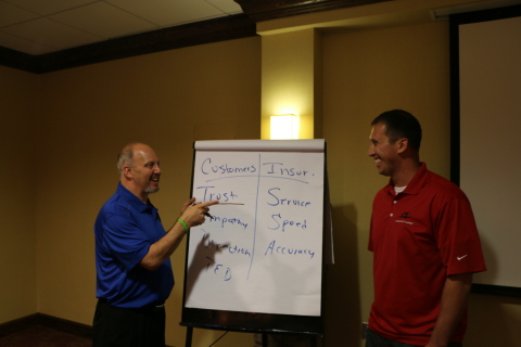 Mike Anderson and Gary Gardella Jr. discuss collision repair at Axalta's Refinish Performance Manage ...