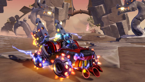 Hit the road with Dark Spitfire and his signature Dark Hot Streak land vehicle, available exclusively in the Skylanders® SuperChargers Dark Edition Starter Pack on September 20. (Graphic: Business Wire)