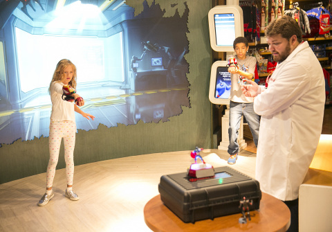 Kids playing with Playmation Marvel's Avengers at Disney Store on Tuesday, July 7, 2015 in Glendale, Calif. as part of exclusive in-store experiences rolling out to select Disney Store locations nationwide and in Canada. Now available for pre-sale at key retailers online and participating Disney Store locations, Playmation is a new system of toys and wearables that uses smart technology to inspire kids to run around and use their imaginations, as they become the hero or heroine of stories from Marvel's Avengers. (Photo by Colin Young-Wolff/Invision for Disney Consumer Products & Interactive Media/AP Images)