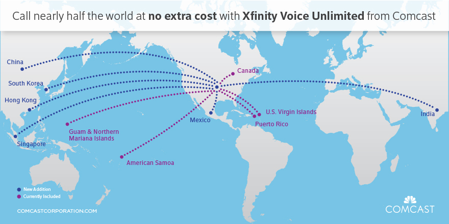 Comcast phone customers now get unlimited calls to nearly half of comcast phone customers now get unlimited calls to nearly half of the world business wire gumiabroncs Images