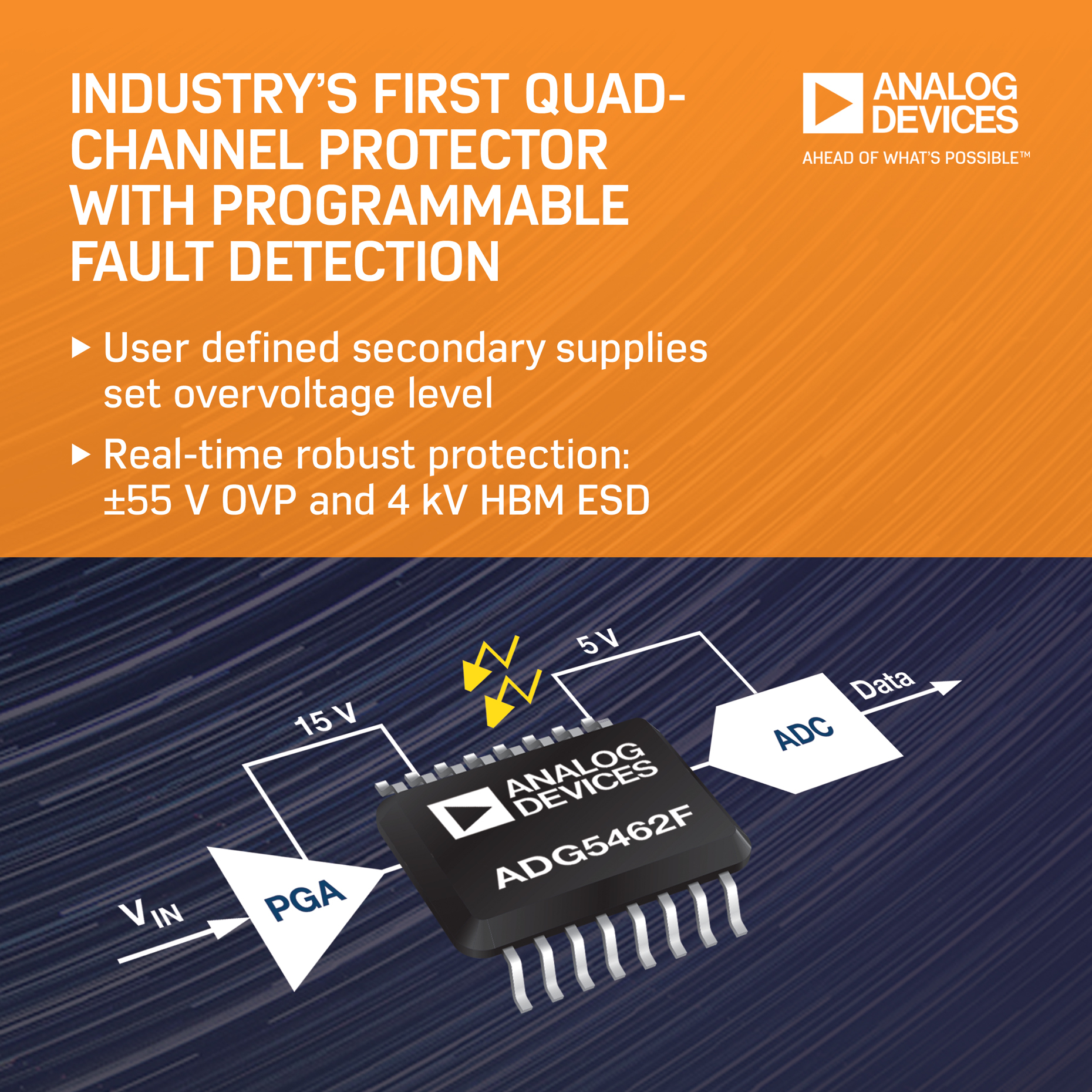 Analog Devices Launches Industrys First Quad Channel Protector And Ovp Wiring Diagram Inc Linda Kincaid 781 937 1472 Lindakincaidanalogcom Or Porter Novelli Andrew Maclellan 617 897 8270