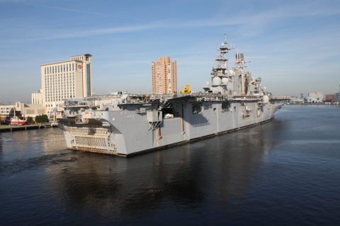 The U.S. Navy has awarded BAE Systems a $26.8 million contract for the phased maintenance of the USS Iwo Jima (LHD 7), a Wasp-class amphibious assault ship. (Photo: BAE Systems)