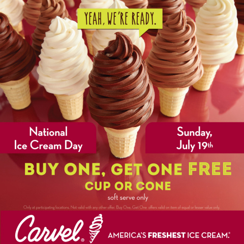 On Sunday, July 19, Carvel is celebrating National Ice Cream Day by treating guests to a buy one get one free offer on any size, any flavor soft-serve cones all day long. (Graphic: Business Wire)