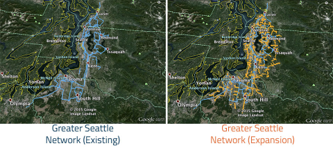 Zayo Group's Seattle area network expansion, map data: Google
