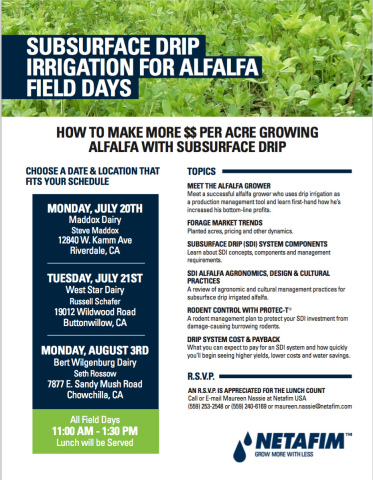 How to maximize profit per acre growing alfalfa with Netafim subsurface drip irrigation. (Graphic: Business Wire)