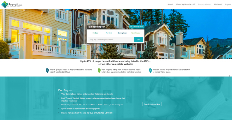 The Prevali homepage (Prevali.com). Prevali gives real estate agents and homebuyers access to the 40% of listings that aren't listed on MLS sites. (Graphic: Business Wire)
