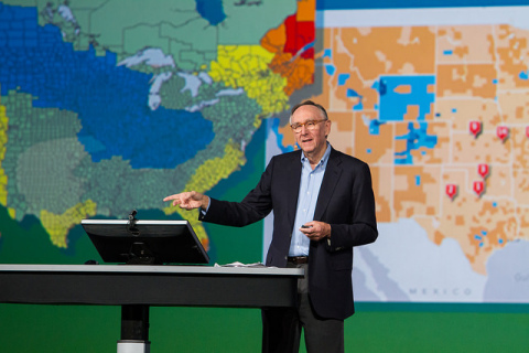 """""""We have millions of users around the globe who do amazing things with our technology every day,"""" said Esri president Jack Dangermond. (Photo: Business Wire)"""