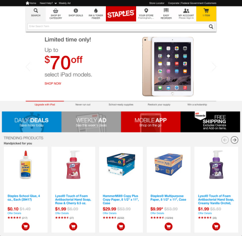 Staples.com now features faster performance, a new interface designed for easier navigation and expanded personalization (Graphic: Business Wire)