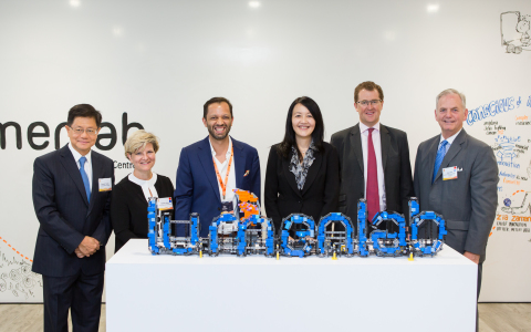 The VIPs at LumenLab launch event - from left: Prof. Bernard Yeung - Dean of NUS Business School; Ms. Heather Grant - High Commissioner of Canada, Mr. Zia Zaman - Chief Innovation Officer of MetLife, Asia; Ms. Jacqueline Loh - Deputy Managing Director, MAS; Mr. Chris Townsend - President, Asia, MetLife; Mr. Blair Hall - Deputy Chief of Mission (Photo: Business Wire)