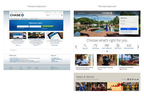 A side-by-side look at the chase.com home page before and after the redesign. (Graphic: Business Wire)