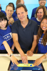 PayPal President and CEO Dan Schulman joins employees and customers to push the iconic PayPal button to ring the bell at Nasdaq this morning. PayPal today became an independent publicly-traded company on the exchange with the ticker symbol PYPL. (Source: Nasdaq)