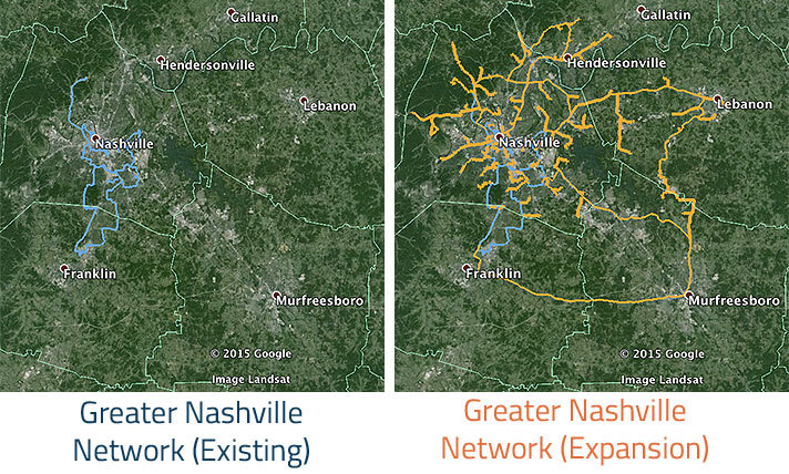 Zayo Group's Nashville area network expansion, map data: Google