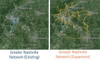 Zayo Group's Nashville area network expansion, map data: Google