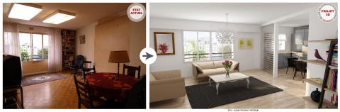 Projet ArchiDeco - Cuisine Américaine pour valoriser et dévoiler le potentiel d'un appartement à la vente. (Photo: Business Wire)