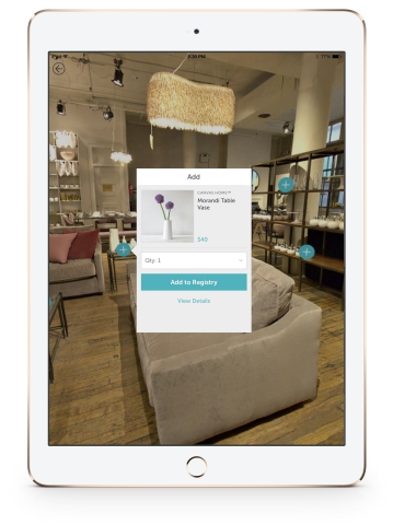 Shop the Canvas Home NYC showroom from the comfort of your couch with 360°, available on the new Zola iPad app. (Photo: Business Wire)