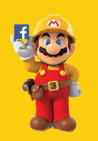"""To celebrate the upcoming launch of the Super Mario Maker game for the Wii U console, Nintendo is hosting a special """"hackathon"""" event at Facebook headquarters in Menlo Park on July 28 and July 29. (Graphic: Business Wire)"""